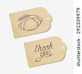 Craft paper tags with THANK YOU hand lettering and sketched croissant. Design for cafe, coffee shop, bakery. Vector illustration - eps 8
