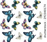 watercolor butterflies. vector... | Shutterstock .eps vector #292340174