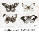 Watercolor Butterflies. Hand...