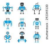 robot icons set  blue theme | Shutterstock .eps vector #292345130