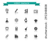school icon set with reflection ... | Shutterstock .eps vector #292348808