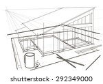 linear architectural sketch.... | Shutterstock .eps vector #292349000