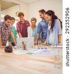 happy creative business team... | Shutterstock . vector #292352906