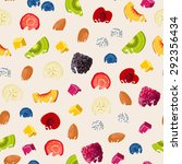 pattern with fruits dipped in... | Shutterstock .eps vector #292356434