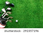 golf ball and golf club in bag... | Shutterstock . vector #292357196