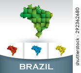 map of brazil with colorful... | Shutterstock .eps vector #292362680