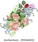 bouquet roses  watercolor | Shutterstock . vector #292364033