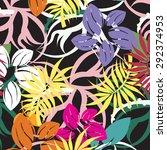 vector seamless floral flowers... | Shutterstock .eps vector #292374953