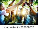 friends party outdoors... | Shutterstock . vector #292380893