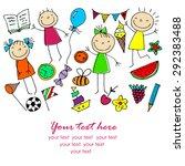 background cheerful children | Shutterstock .eps vector #292383488