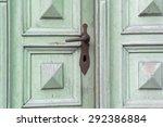 Old Green Wooden Entrance Door...
