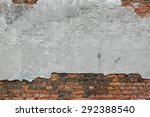 Old Red Brick Wall With Damage...