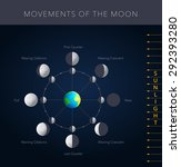 movements of the moon  8 lunar... | Shutterstock .eps vector #292393280