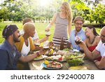 friends outdoors party... | Shutterstock . vector #292400078