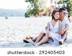 romantic young couple in love... | Shutterstock . vector #292405403