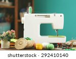 sewing machine on table in... | Shutterstock . vector #292410140