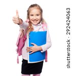 child with schoolbag. girl with ... | Shutterstock . vector #292424063