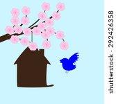 Blossoming Sakura Branches And...