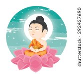 illustration. buddha sitting on ... | Shutterstock .eps vector #292427690