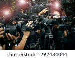 press and media camera working... | Shutterstock . vector #292434044