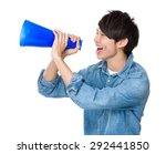 man shout with megaphone | Shutterstock . vector #292441850