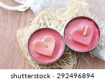 Two New Red Heart Candles  On...
