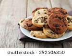 Chocolate Chip Cookies On Plat...
