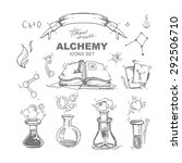 hand drawn alchemy icons set... | Shutterstock .eps vector #292506710