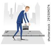 burnout businessman walking in... | Shutterstock .eps vector #292509074