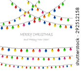 multicolored christmas lights... | Shutterstock . vector #292512158
