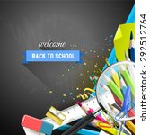 school supplies on the... | Shutterstock .eps vector #292512764