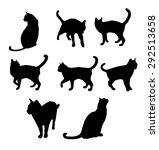 Stock vector set of black cat s silhouette vector illustration 292513658