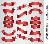 red ribbons set. vector... | Shutterstock .eps vector #292530503
