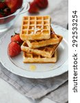 homemade waffles with... | Shutterstock . vector #292533254