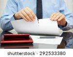businessman tears document in... | Shutterstock . vector #292533380