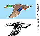 Flying Duck Vector Illustration
