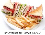 clubhouse sandwich on organic... | Shutterstock . vector #292542710