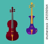 set of different violins.... | Shutterstock .eps vector #292550564