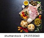 wine appetizer set. antipasti... | Shutterstock . vector #292553060