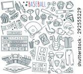 baseball doodle set. special... | Shutterstock .eps vector #292555229