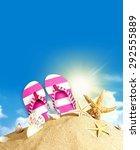 flip flop  sandal  pink. | Shutterstock . vector #292555889