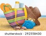 vacations  summer  beach bag. | Shutterstock . vector #292558430