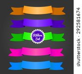 color ribbons set on dark.... | Shutterstock .eps vector #292581674