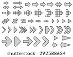 a set of silhouettes arrows... | Shutterstock .eps vector #292588634