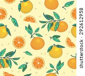 oranges with leaves seamless... | Shutterstock .eps vector #292612958