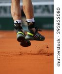 Small photo of PARIS, FRANCE- MAY 25, 2015: Grand Slam champion Andy Murray wears custom Adidas tennis shoes during first round match at Roland Garros 2015 in Paris, France
