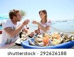 couple in seafood restaurant... | Shutterstock . vector #292626188