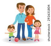 happy family standing together... | Shutterstock .eps vector #292631804