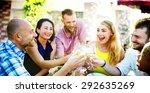 diverse people friends hanging... | Shutterstock . vector #292635269