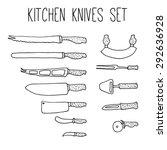 hand drawn knives set. doodle...   Shutterstock .eps vector #292636928